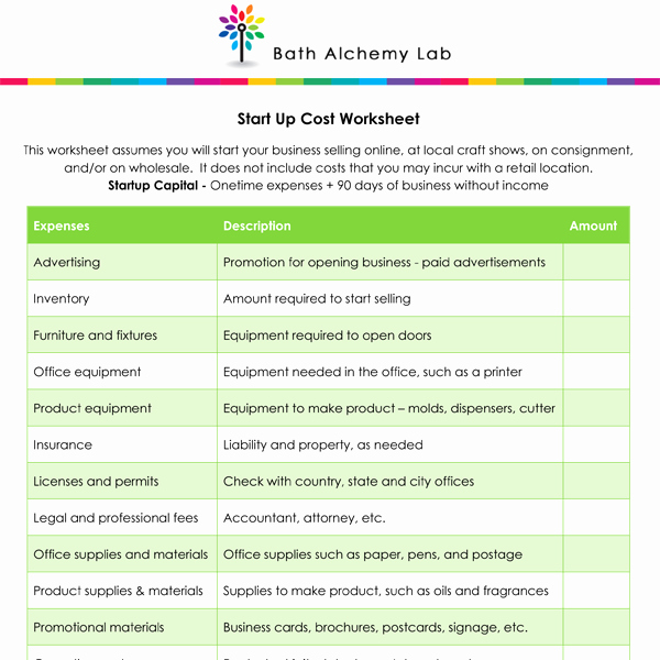 Business Start Up Costs Worksheet Lovely for Free