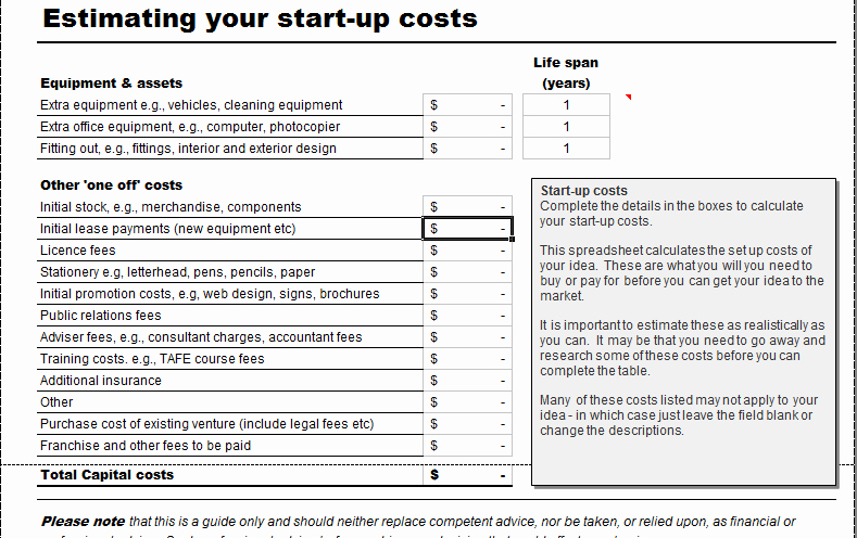 Business Start Up Costs Worksheet Luxury Business Start Up Costs Calculator for Excel