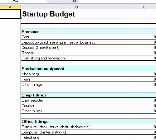 Business Start Up Costs Worksheet Unique Startup Bud Template Excel