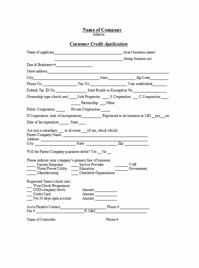 Business to Business Credit Application Best Of 40 Free Credit Application form Templates & Samples