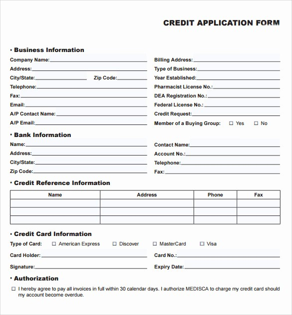 Business to Business Credit Application Inspirational 10 Credit Application forms to Download