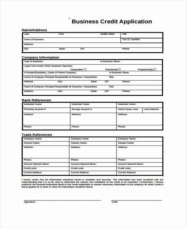 Business to Business Credit Application Lovely 9 Business Credit Application form Free Sample Example
