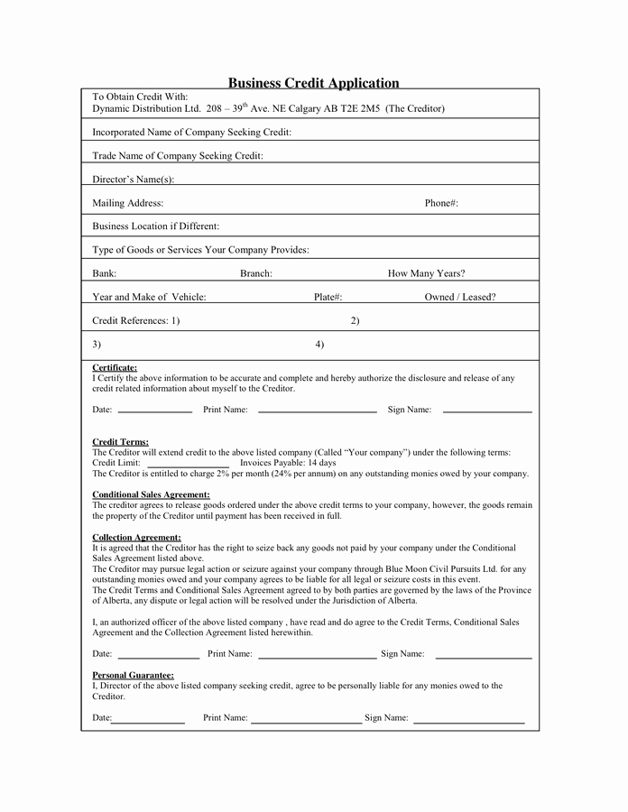Business to Business Credit Application Lovely Personal Credit Application In Word and Pdf formats