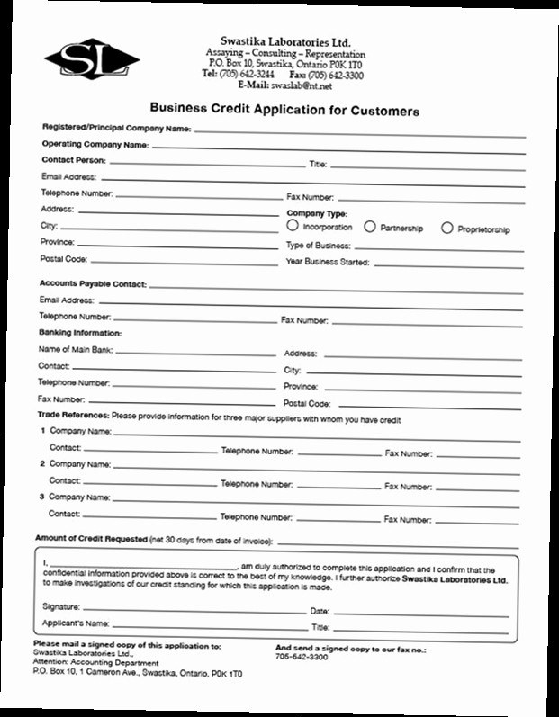 Business to Business Credit Application Luxury Business Credit Application form Pdf