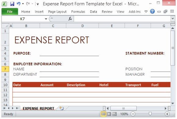 Business Travel Expense Report Template Best Of Expense Report form Template for Excel