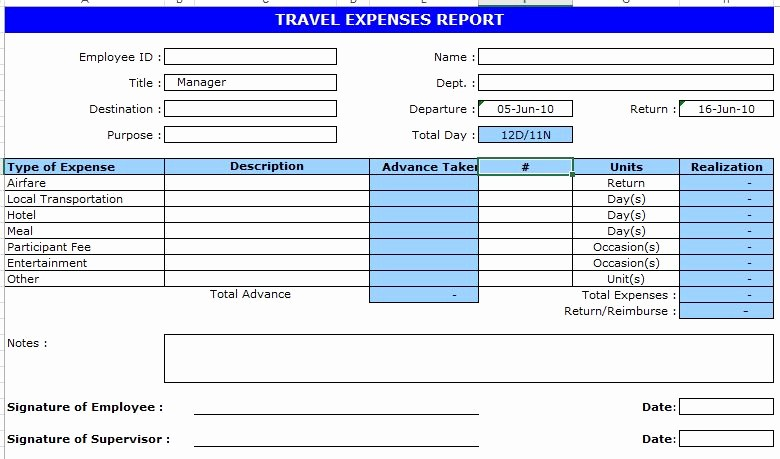 Business Travel Expense Report Template Fresh Business Travel Expenses Report form