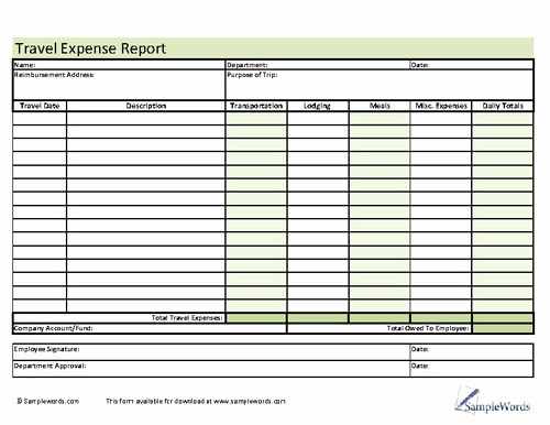 Business Travel Expense Report Template Fresh Travel Expense Report form