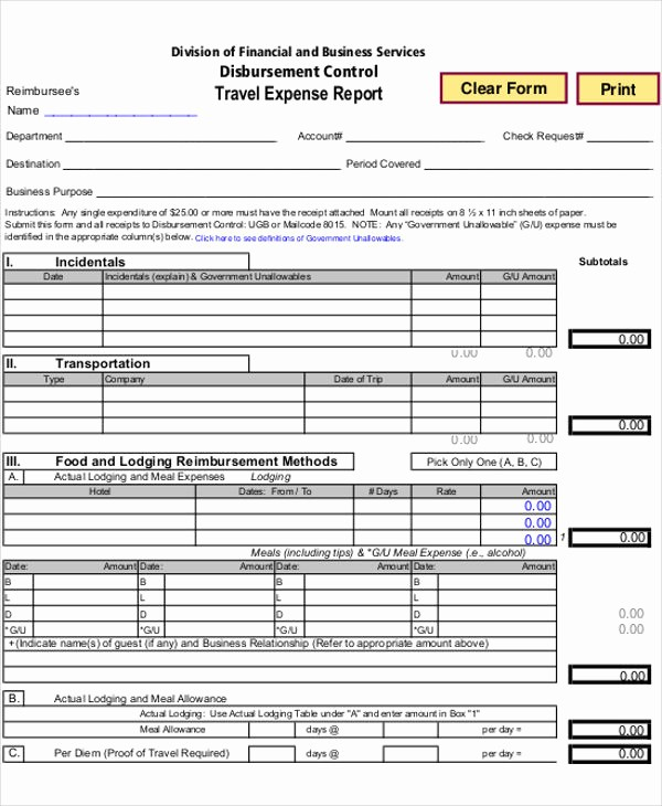 Business Travel Expense Report Template Luxury 26 Expense Report Samples