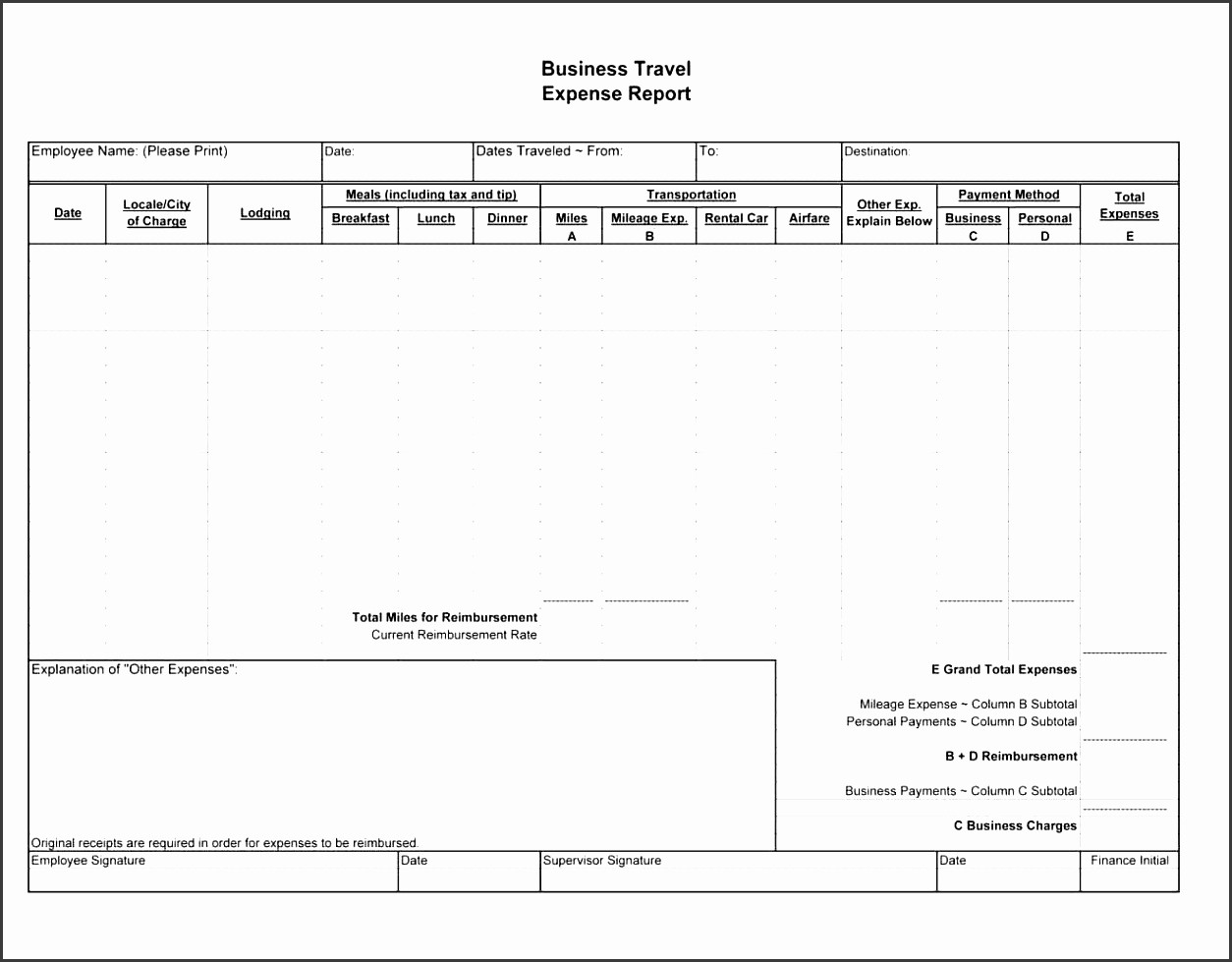 Business Travel Expense Report Template New 5 Business Expense Report Template Sampletemplatess