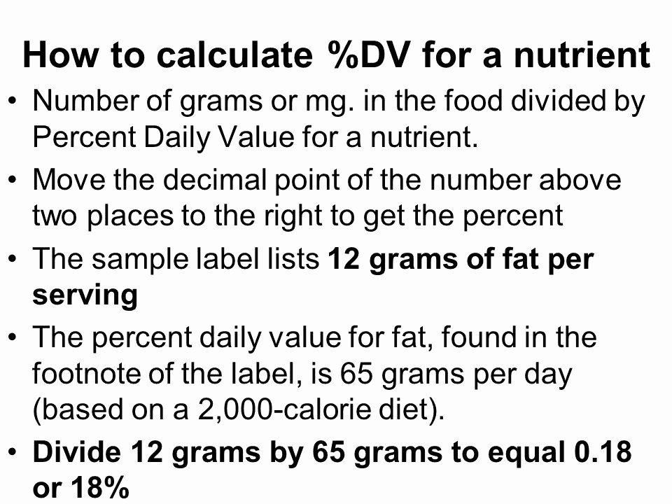 Calculate Fat Percentage In Food Beautiful Nutrition Ppt Video Online