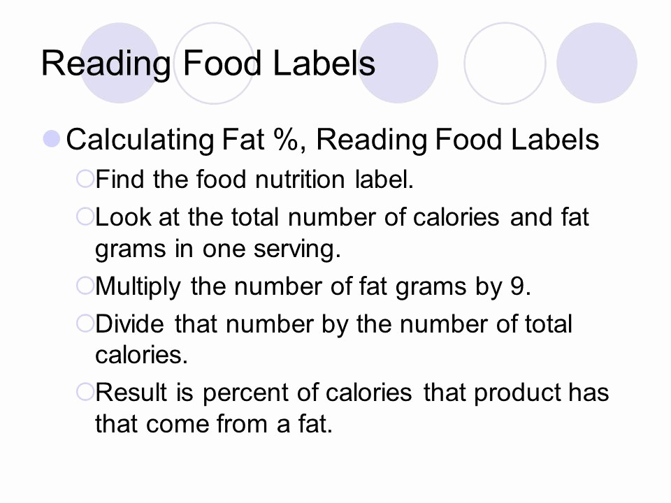 Calculate Fat Percentage In Food Unique Nutrition Knr Ppt