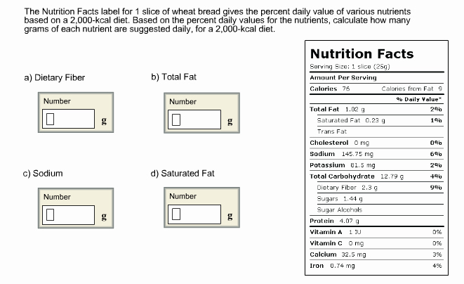 Calculate Fat Percentage In Food Unique solved the Nutrition Facts Label for 1 Slice Wheat Bre