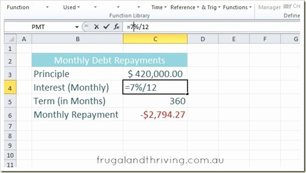 Calculate Monthly Mortgage Payment Excel Inspirational Calculate Loan Repayments In Excel Using the Pmt Function