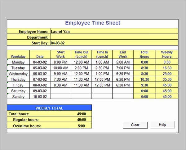 Calculate Time Card In Excel Elegant 17 Timesheet Calculator Templates to Download for Free
