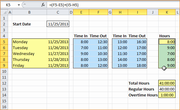 Calculate Time Card In Excel Elegant 6 Excel Timesheet Calculator