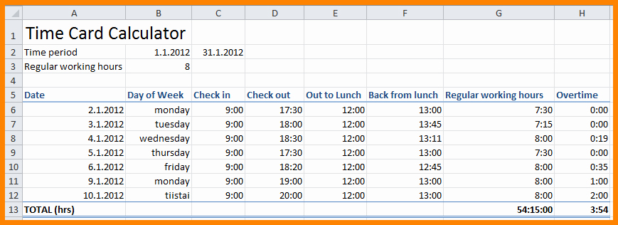 Calculate Time Card In Excel Fresh 7 Timesheet Calculator with Breaks