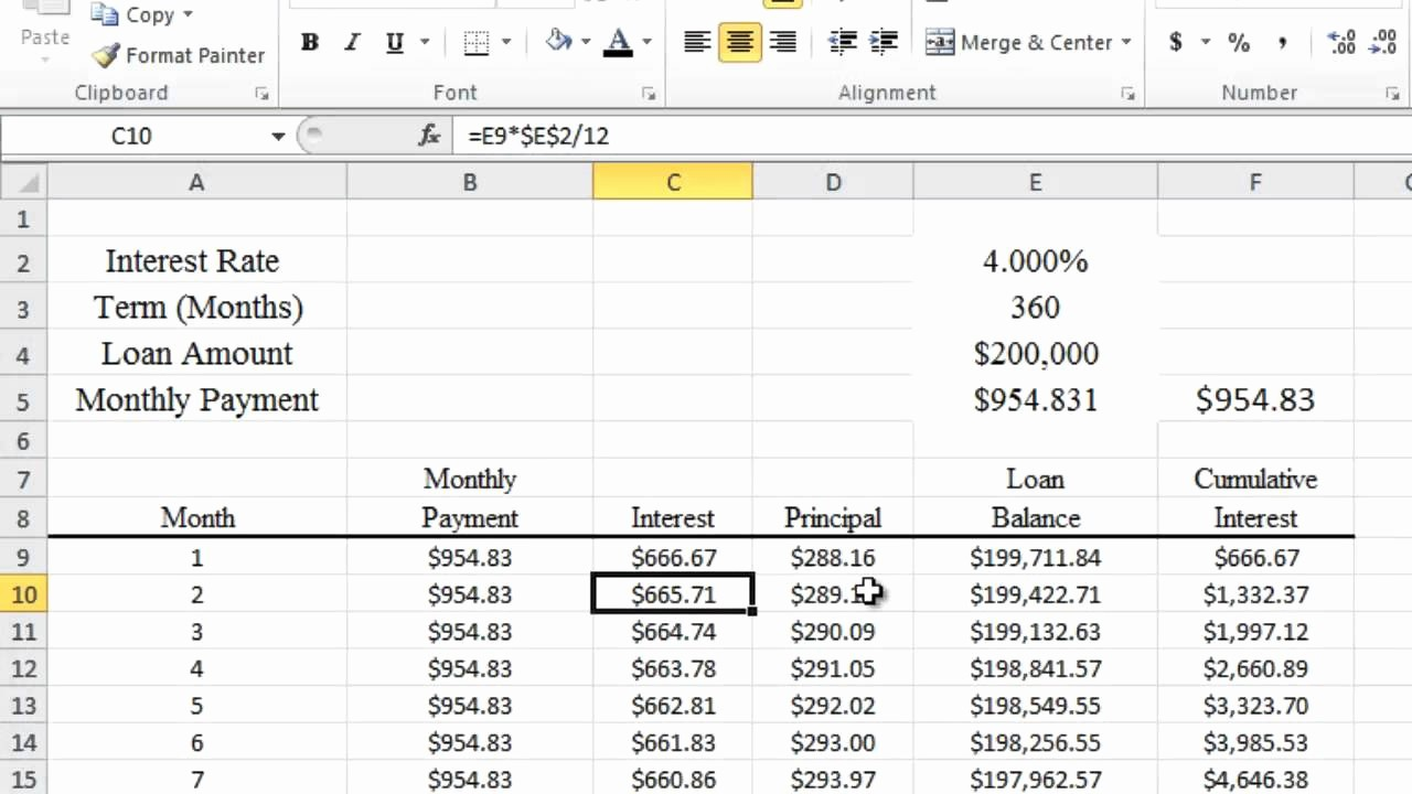 Calculating Mortgage Payment In Excel Beautiful Calculating Mortgage and Apr In Excel 2010