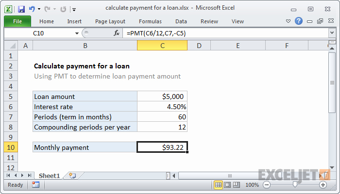 Calculating Mortgage Payment In Excel Best Of Excel formula Calculate Payment for A Loan