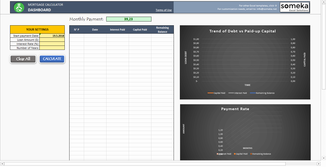 Calculating Mortgage Payment In Excel Luxury Mortgage Calculator Free Excel Template to Calculate