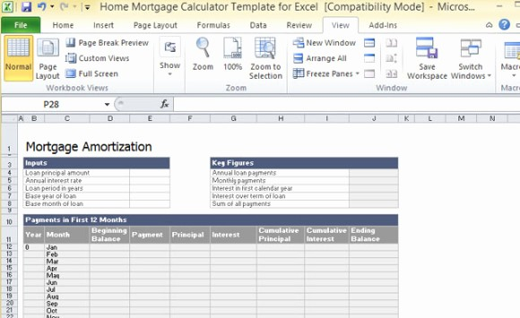 Calculating Mortgage Payment In Excel New Home Mortgage Calculator Template for Excel