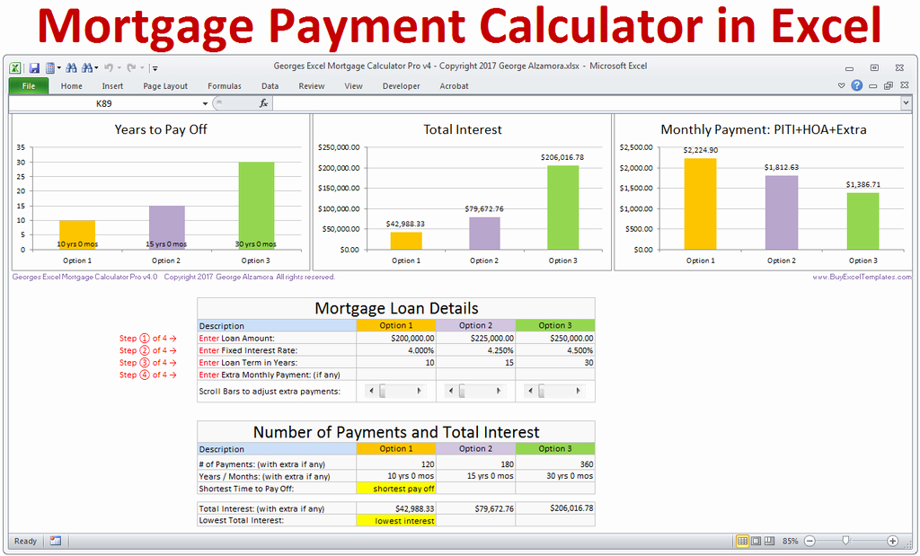 Calculating Mortgage Payments In Excel Awesome Mortgage Calculator with Taxes Insurance Pmi Hoa & Extra