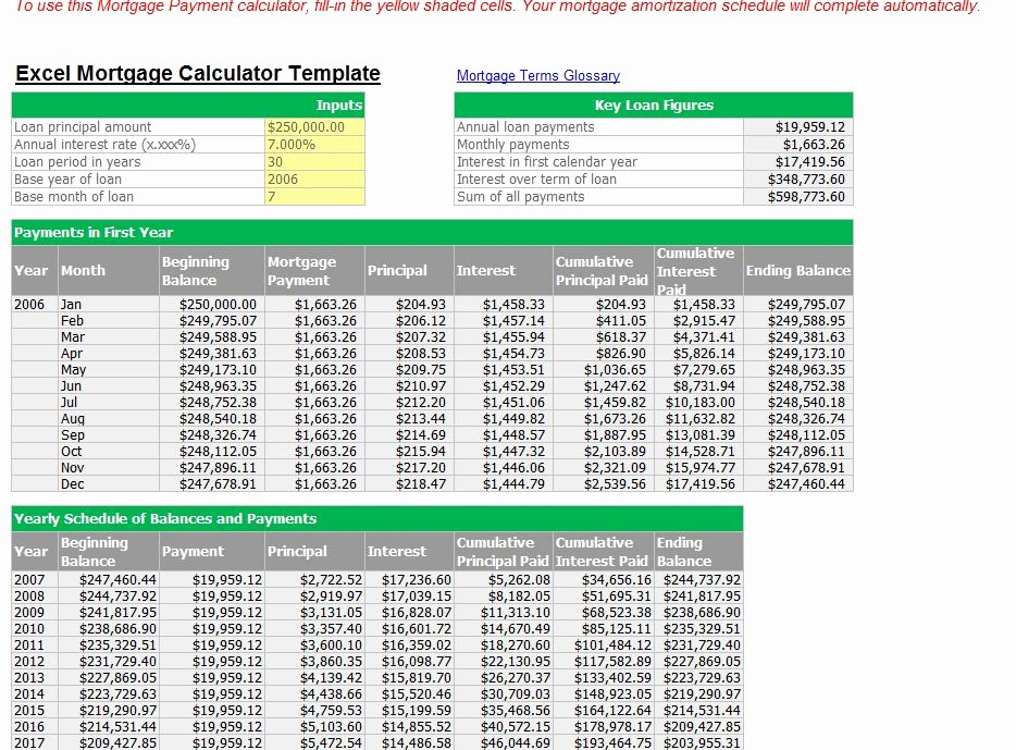 Calculating Mortgage Payments In Excel New Loan Payment Calculator Excel