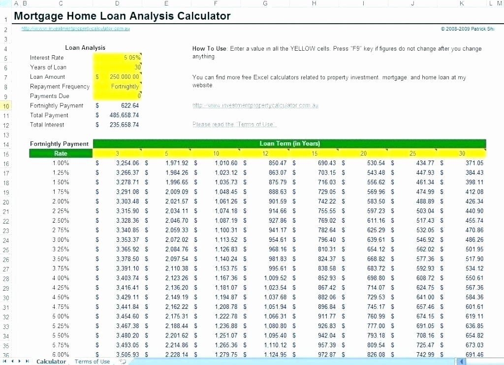 Calculating Mortgage Payments In Excel New Mortgage Payment Calculator Template Oursearchworld