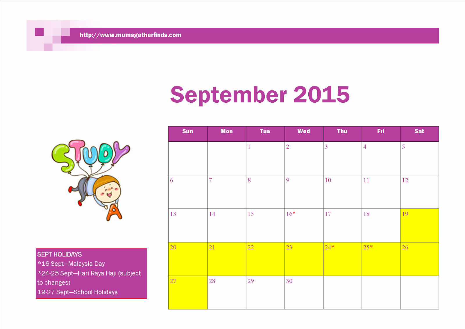 Calendar 2015 Printable with Holidays Awesome Free Printable September 2015 Calendar with Malaysia