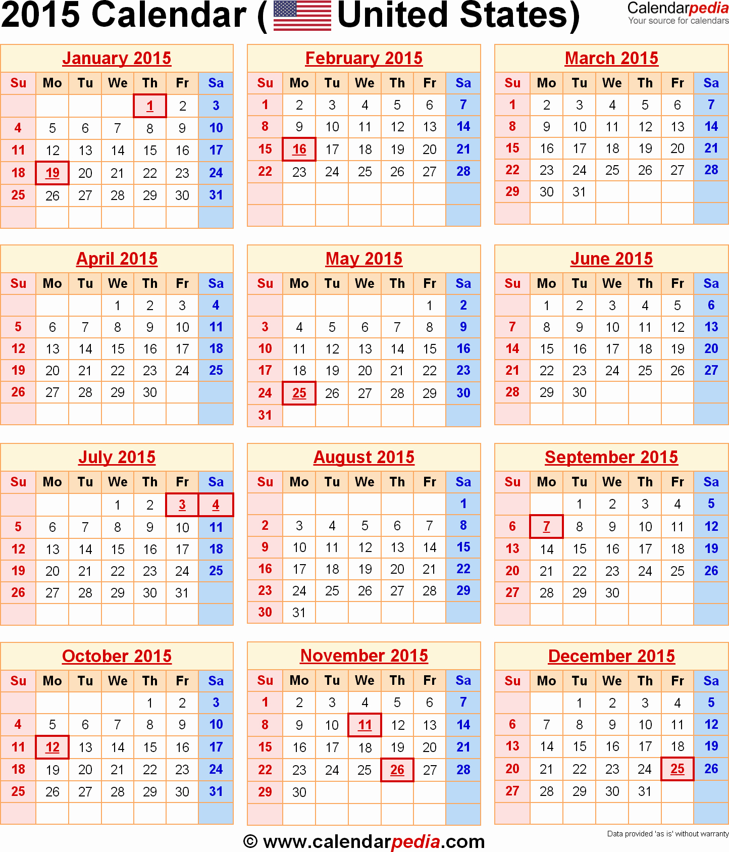 Calendar 2015 Printable with Holidays Beautiful 2015 Calendar with Federal Holidays & Excel Pdf Word Templates