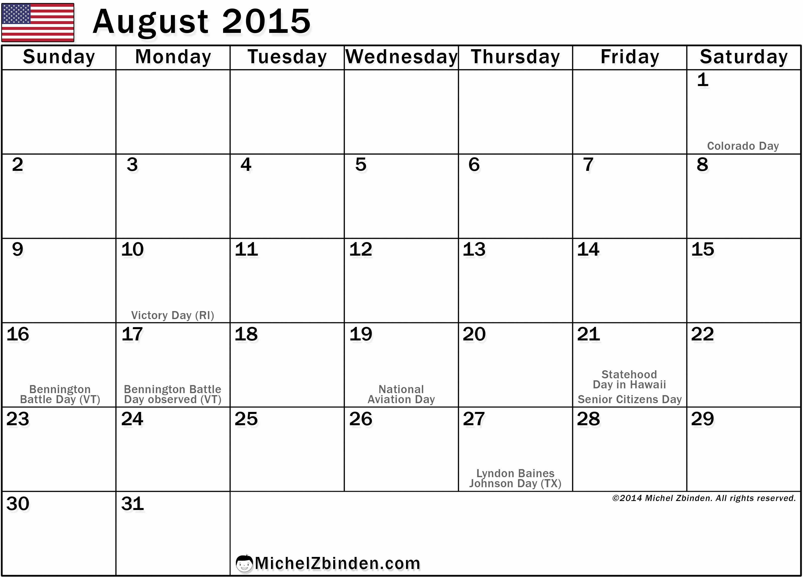 Calendar 2015 Printable with Holidays Beautiful 7 Best Of Printable August Calendar Big Print