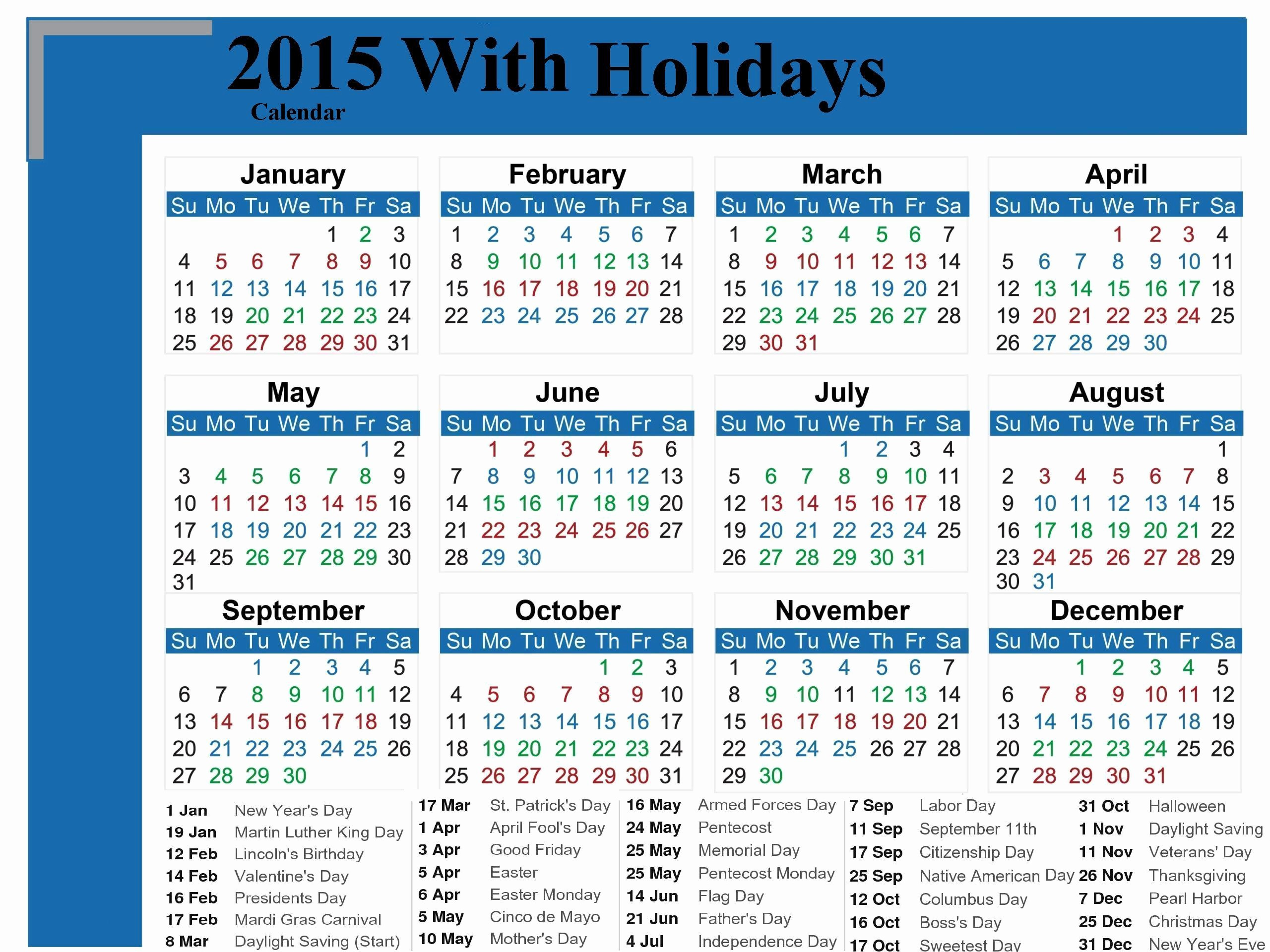 Calendar 2015 Printable with Holidays Beautiful Calendar with Holidays 2015