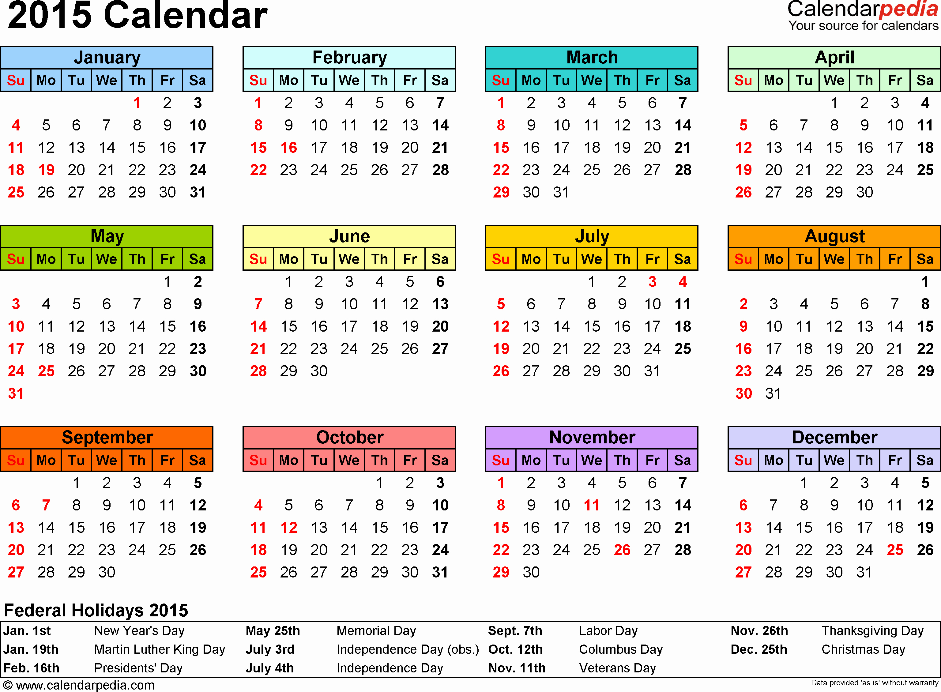 Calendar 2015 Printable with Holidays Best Of 2015 Calendar Excel Download 16 Free Printable Templates