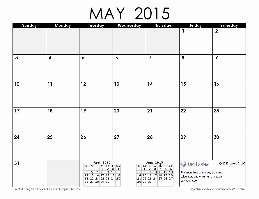 Calendar 2015 Printable with Holidays Best Of 2015 May Printable Calendar without Holidays