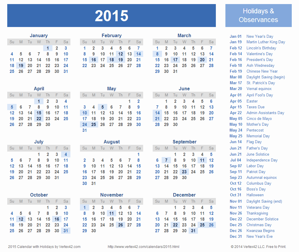 Calendar 2015 Printable with Holidays Best Of Download Printable 2015 Calendar