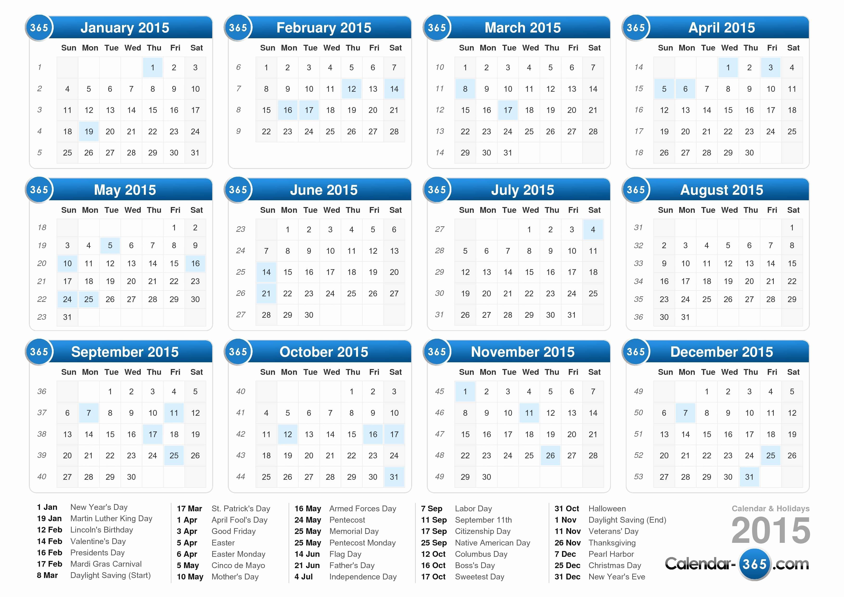 Calendar 2015 Printable with Holidays Elegant 2015 Calendar