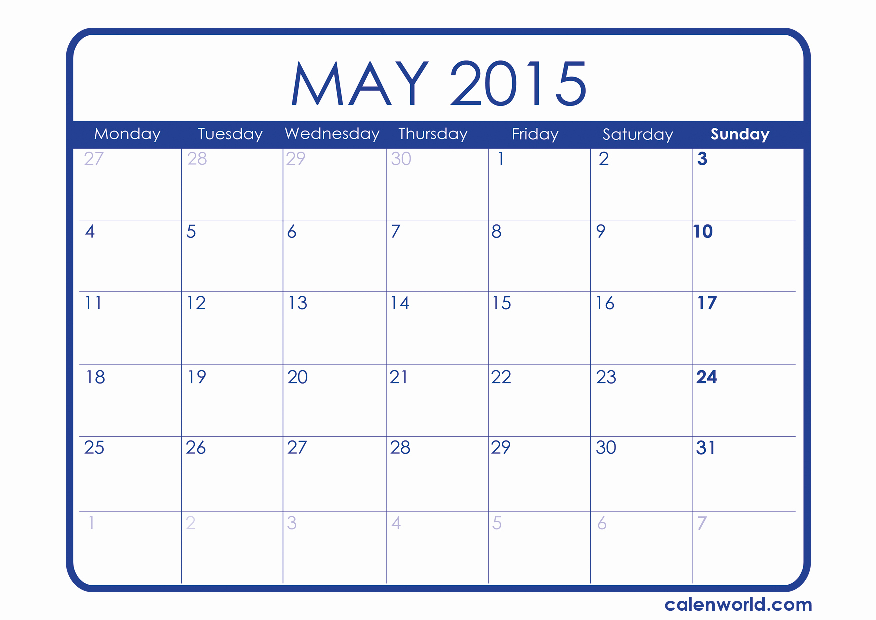 Calendar 2015 Printable with Holidays Elegant May 2015 Calendar
