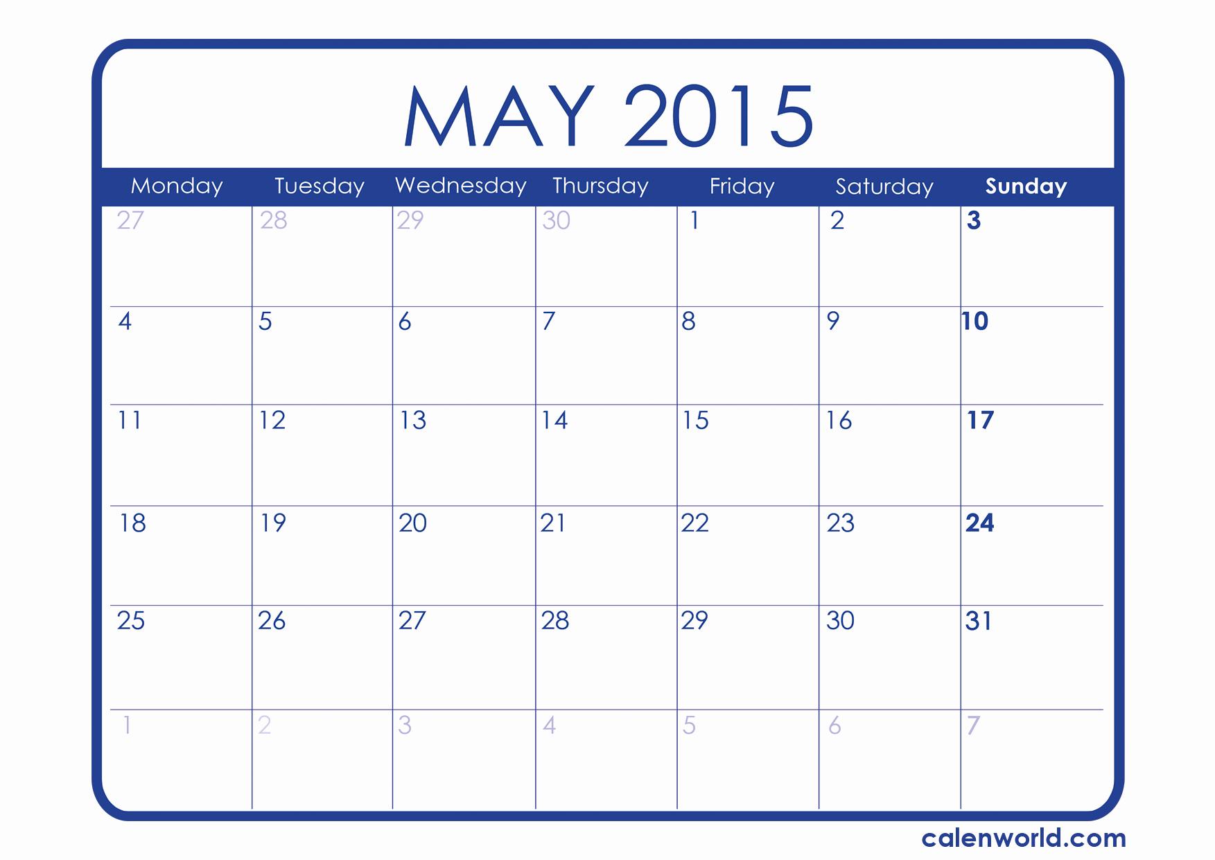 Calendar 2015 Printable with Holidays Elegant May 2015 Calendar