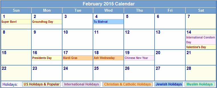 Calendar 2015 Printable with Holidays Fresh 2015 Calendar with Holidays