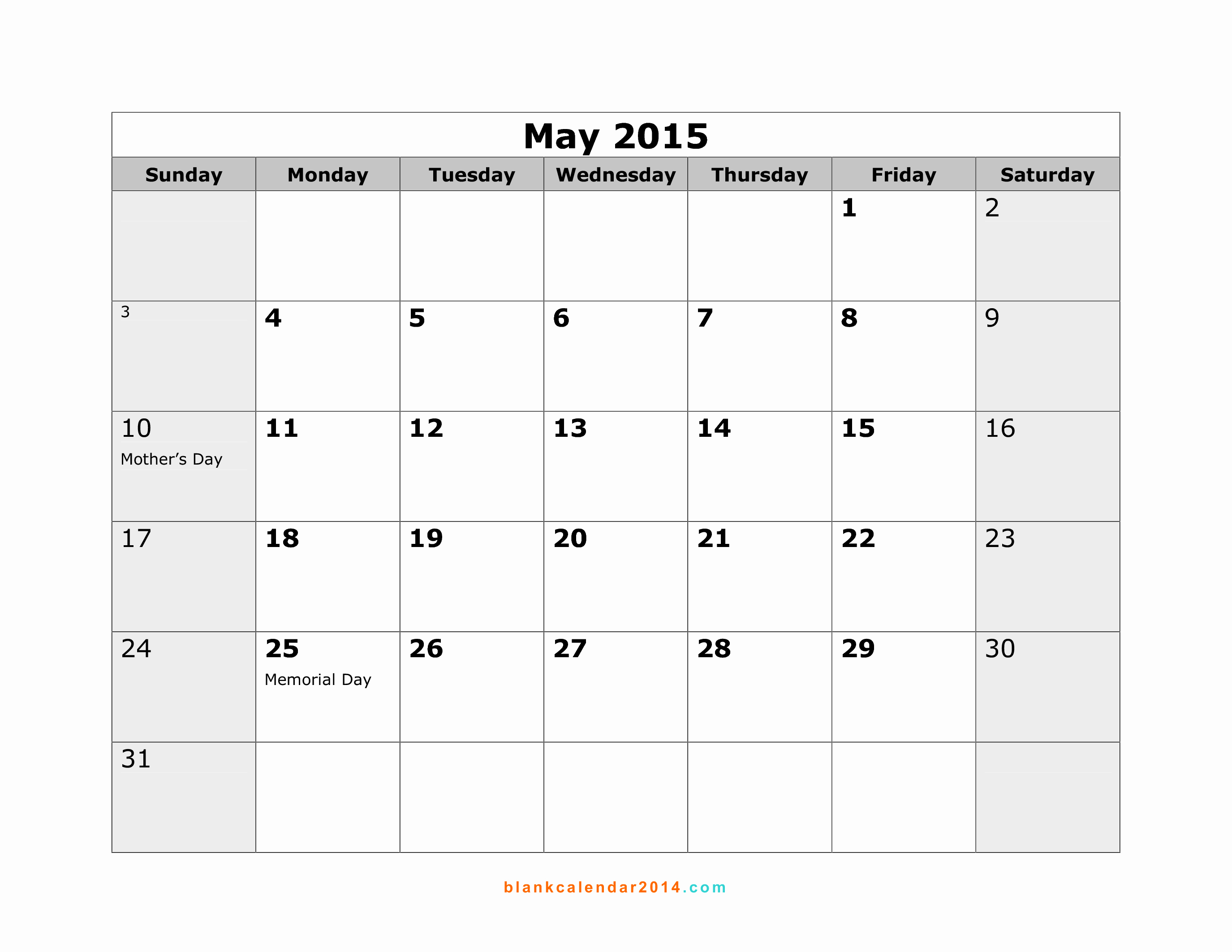 Calendar 2015 Printable with Holidays Fresh 5 Best Of May 2015 Calendar with Holidays Printable