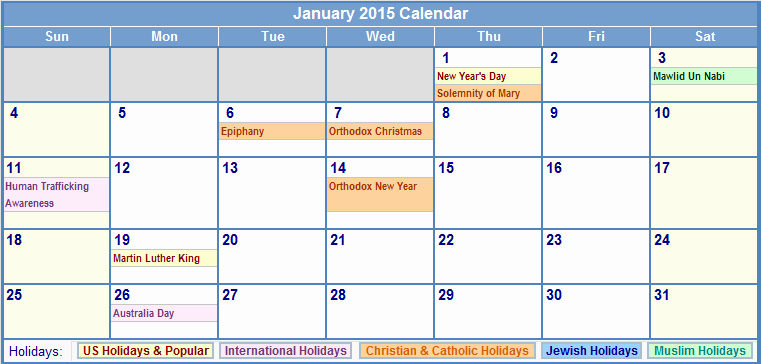 Calendar 2015 Printable with Holidays Inspirational 2015 Us Holidays and Observances