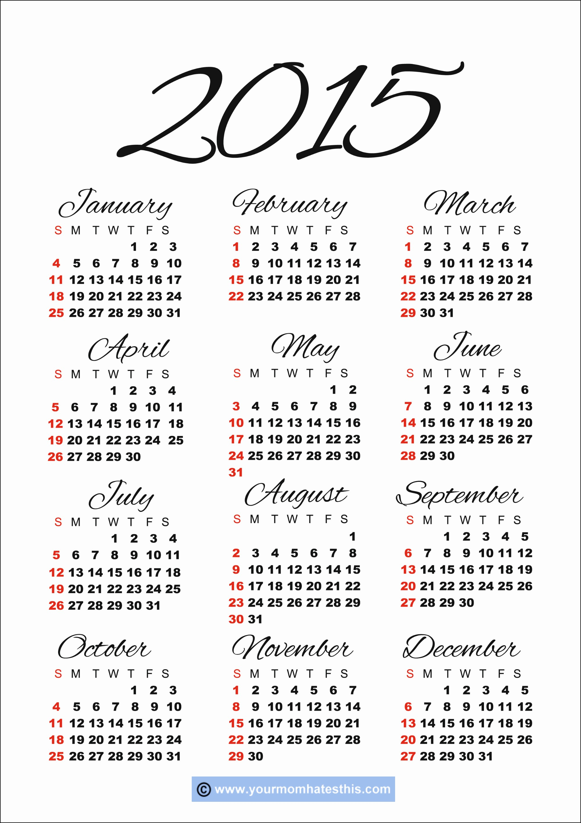 Calendar 2015 Printable with Holidays Inspirational Download Printable 2015 Calendar