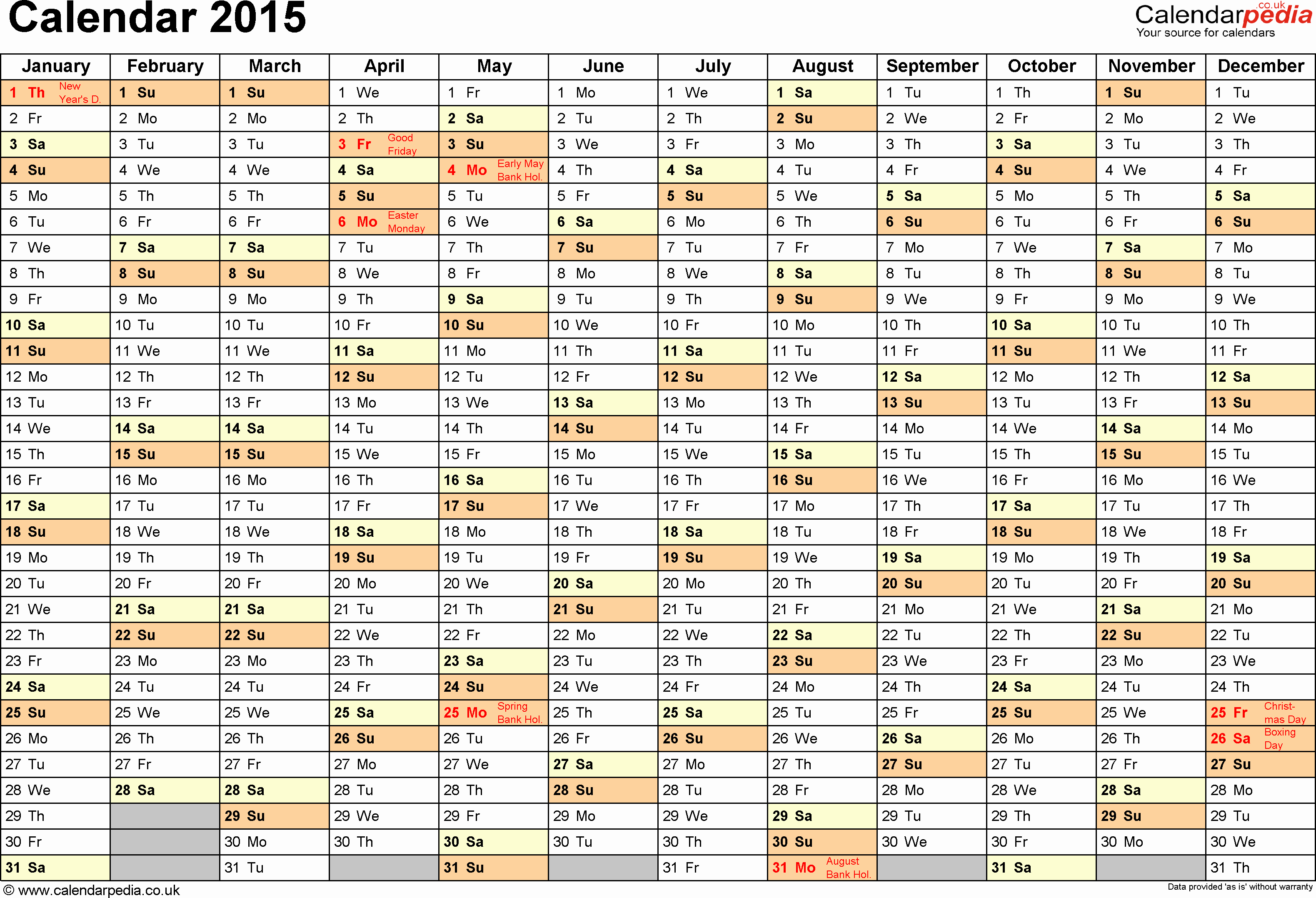 Calendar 2015 Printable with Holidays Luxury Excel Calendar 2015 Uk 16 Printable Templates Xlsx Free