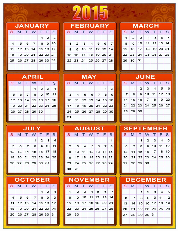 Calendar 2015 Printable with Holidays Luxury Printable Calendars for New Year