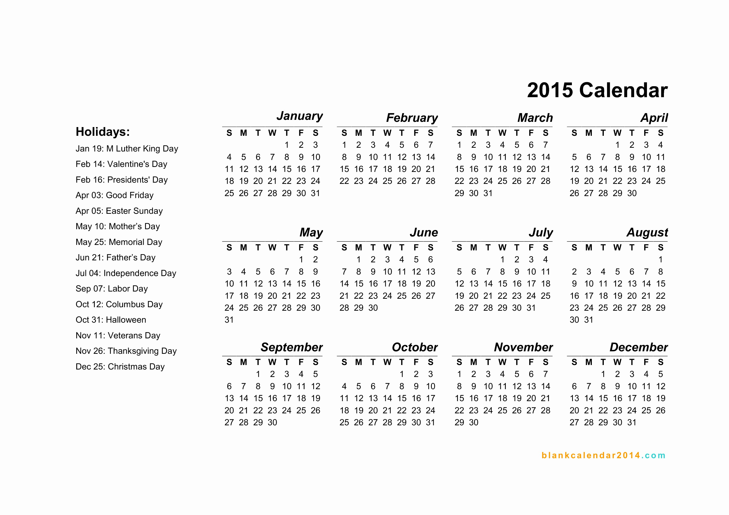 Calendar 2015 Printable with Holidays New 6 Best Of 2015 Yearly Calendar Printable Free Pdf