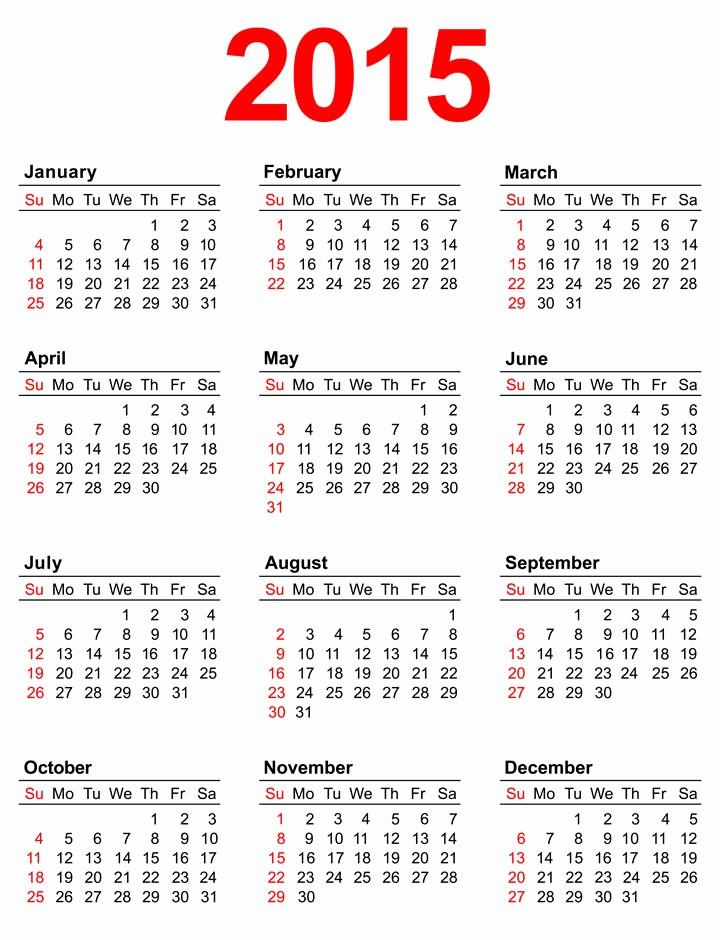 Calendar 2015 Printable with Holidays New 7 Best Of Annual Calendar 2015 Printable 2015