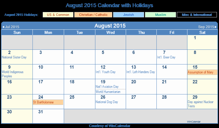 Calendar 2015 Printable with Holidays New Print Friendly August 2015 Us Calendar for Printing