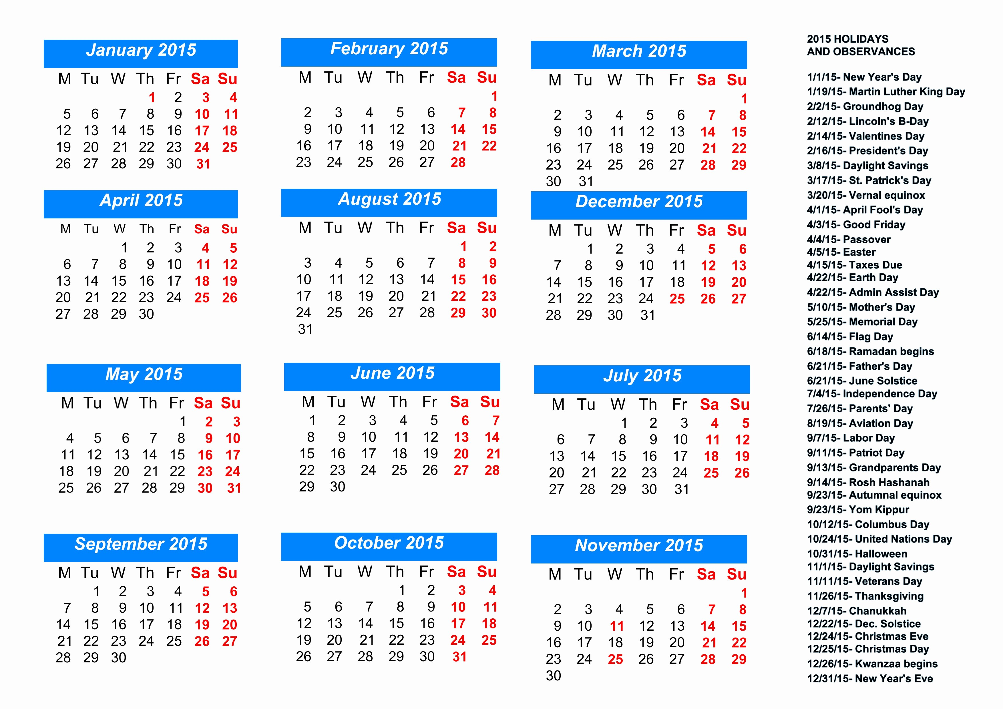 Calendar 2015 Printable with Holidays Unique 8 Best Of Free Printable Calendar with Holidays