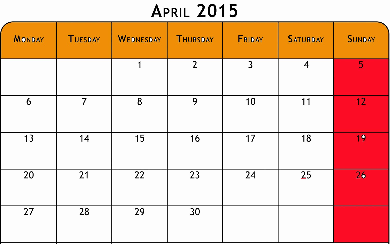 Calendar 2015 Printable with Holidays Unique April 2016 Calendar with Holidays Printable – 2017