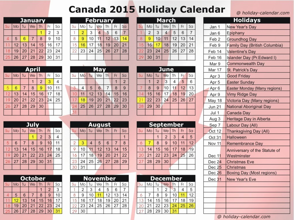 Calendar 2015 Printable with Holidays Unique Calendar with Holidays 2015