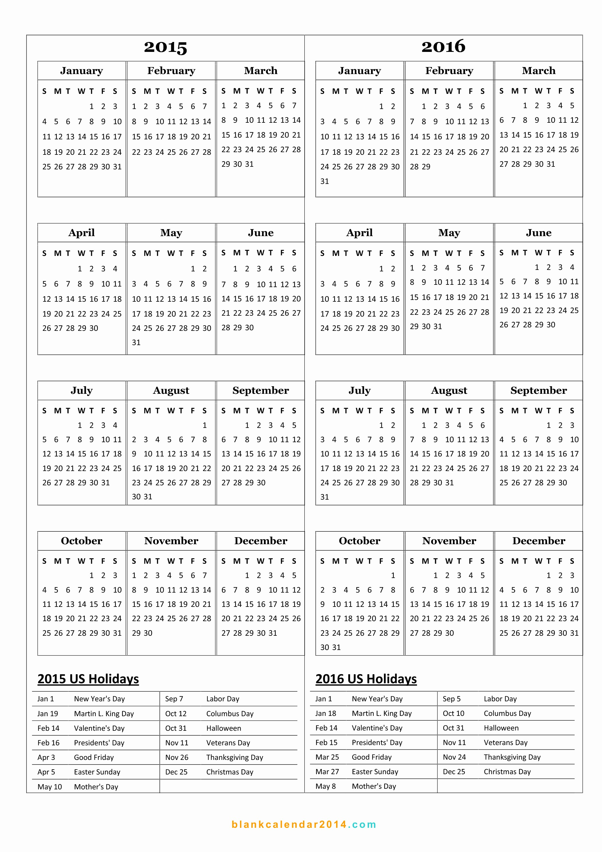 Calendar 2015 Printable with Holidays Unique Free 2015 Printable Calendar Template with Holidays